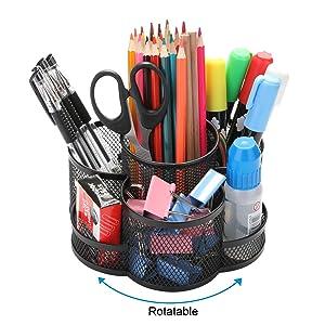 Rotating Pencil Holder, AGPTEK 7 Compartment Desktop Office Supplies Storage Organizer Caddy Rack (Black Metal)