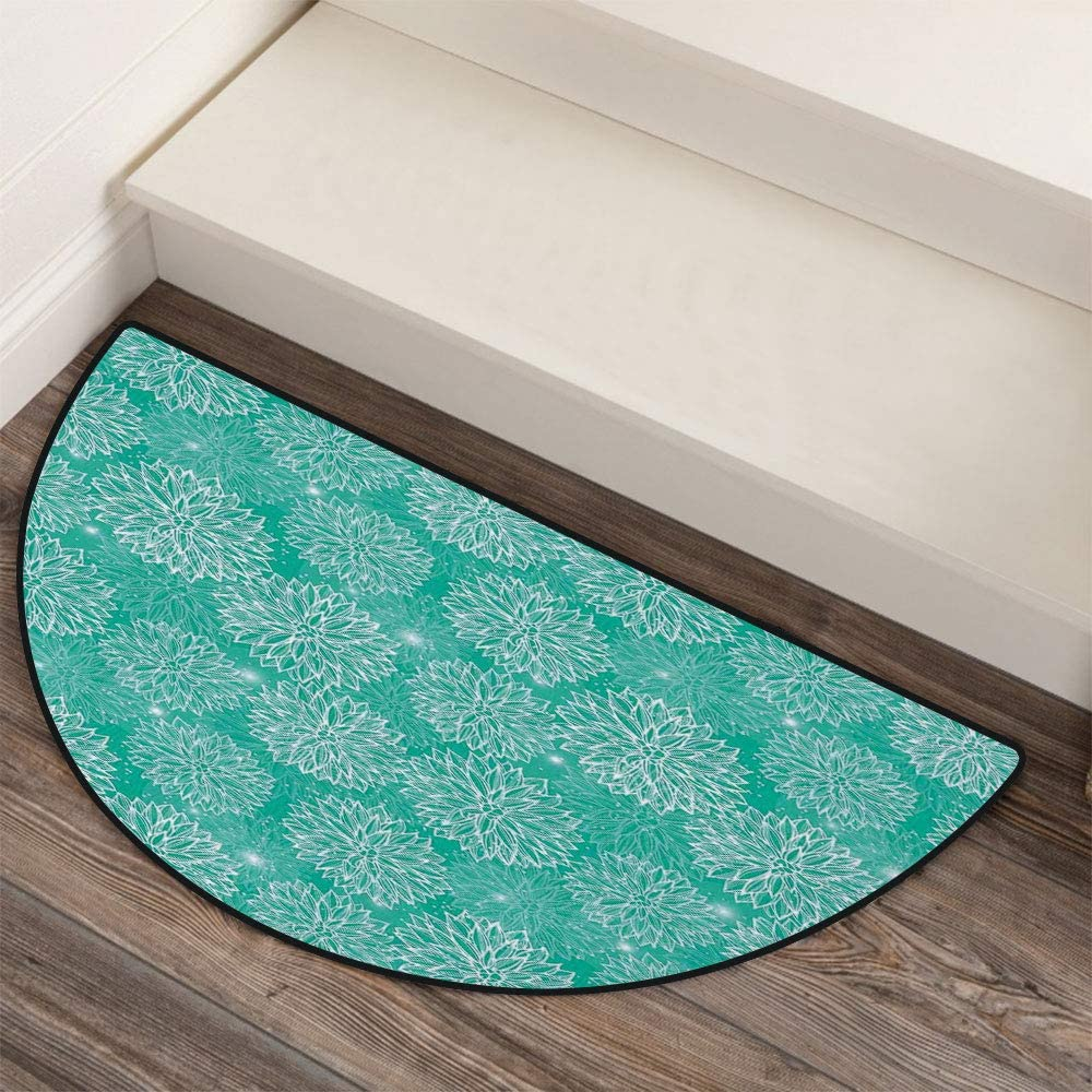 36 x 72 Half Round Door Mat,Scenic Autumn Forest Reflects on The Lake Pale Leaf Trees Dreamy Park Nature Photo Outdoor//Indoor Entry Rug,for Home Kitchen Office Standing Desk Mats,Orange Blue