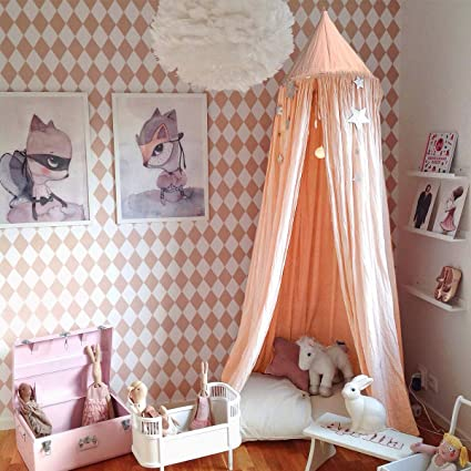 Amazon.com: Jeteven Cotton Bed Canopy Bed Tent for Girls Bed, Play ...