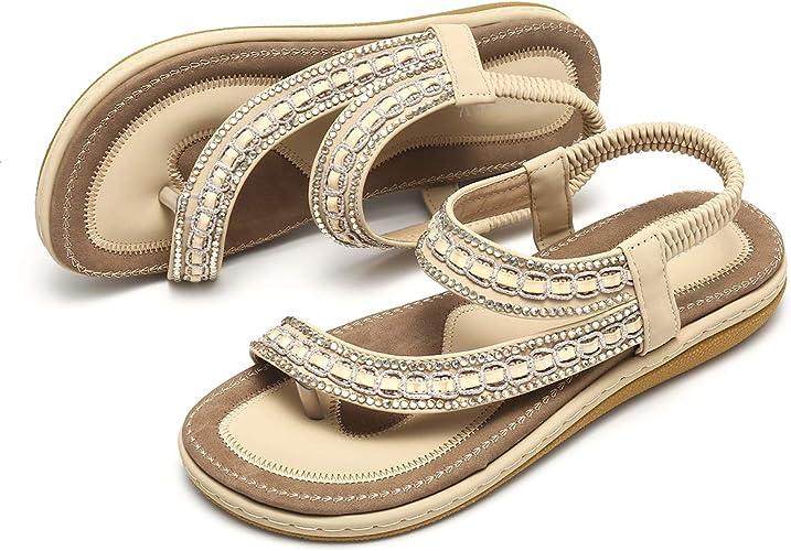 gracosy Sandales Femmes Plates, Chaussures Été Tongs Nu Pieds Claquettes Plage Bride Cheville à Talons Plats Sandales Compensées Confortables Strass