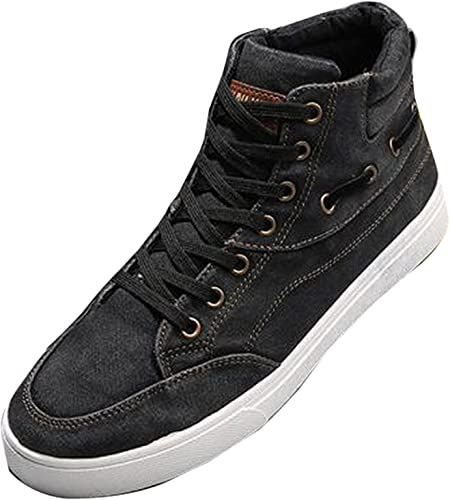 Mens High Top School Board Shoes Suede Leather Lace Up Buckle Zip Punk Sneakers