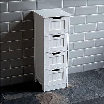 Amazon.de: Bad Ablage - Badezimmer 4 Schubladen Schrank Schrank Holz ...