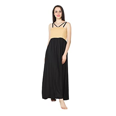 8c93b9c392 Patrorna Black and Gold Embroidered Blouseon Maternity Nighty Nightdress  for Women Size S-7XL  Amazon.in  Clothing   Accessories