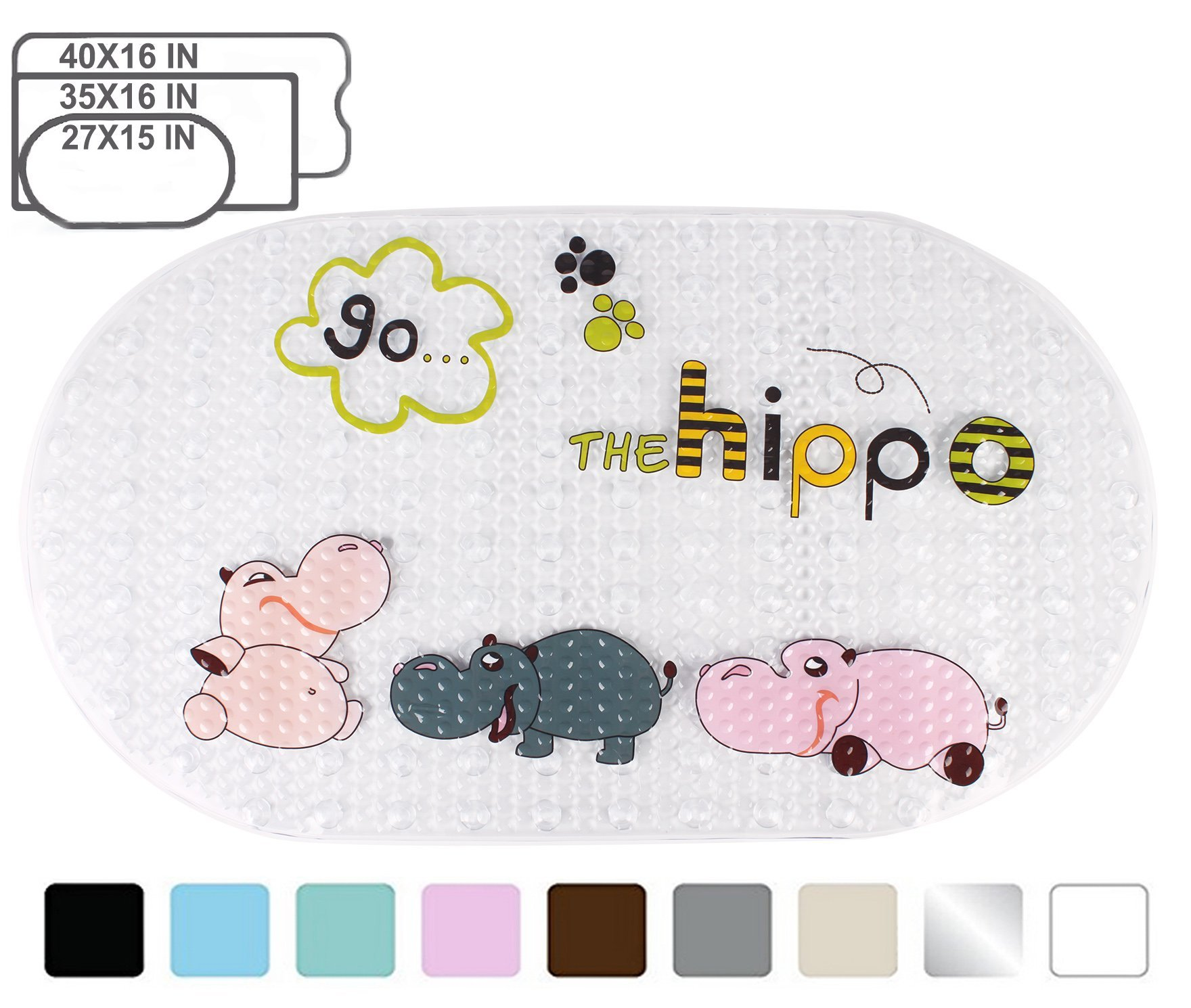Yimobra Original Bath tub and Shower Mat for Kids Anti Bacterial,Phthalate Free,Latex and Machine Washable Cartoon Pattern Mats Materials,(Baby 27x15 Inch, Hippo)