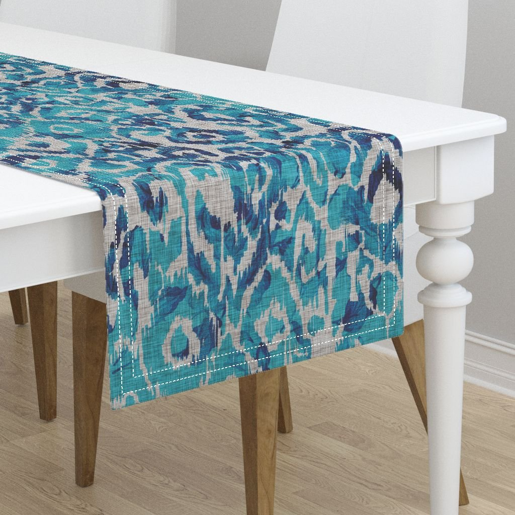 Table Runner - Ikat Animal Print Tropical Peacock Blue by Nouveau Bohemian - Cotton Sateen Table Runner 16 x 72