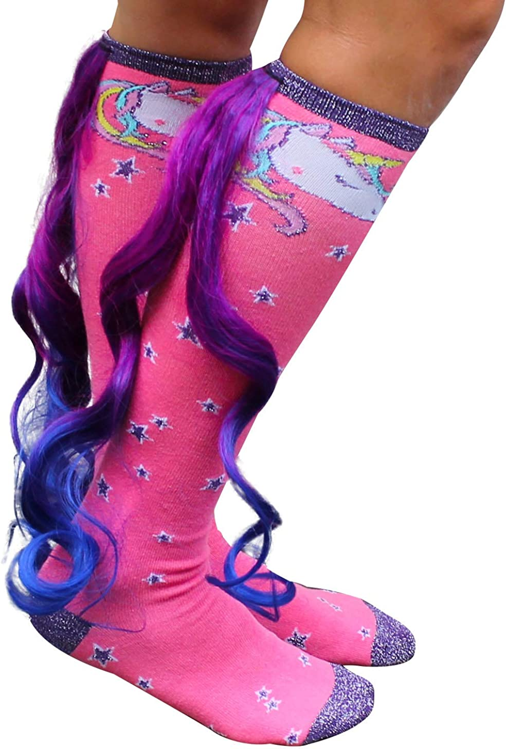 Gears Out Magical Unicorn Socks with Colorful Tail - Pink and Purple - One-size