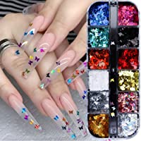 3D Butterfly Nail Glitter Sequins Laser Butterfly Nail Art Supplies 12 Colors Holographic Nail Sequin Butterfly Nails Supply Design Colorful Flakes Nail Art Sticker Manicure Tips Charms Decoration