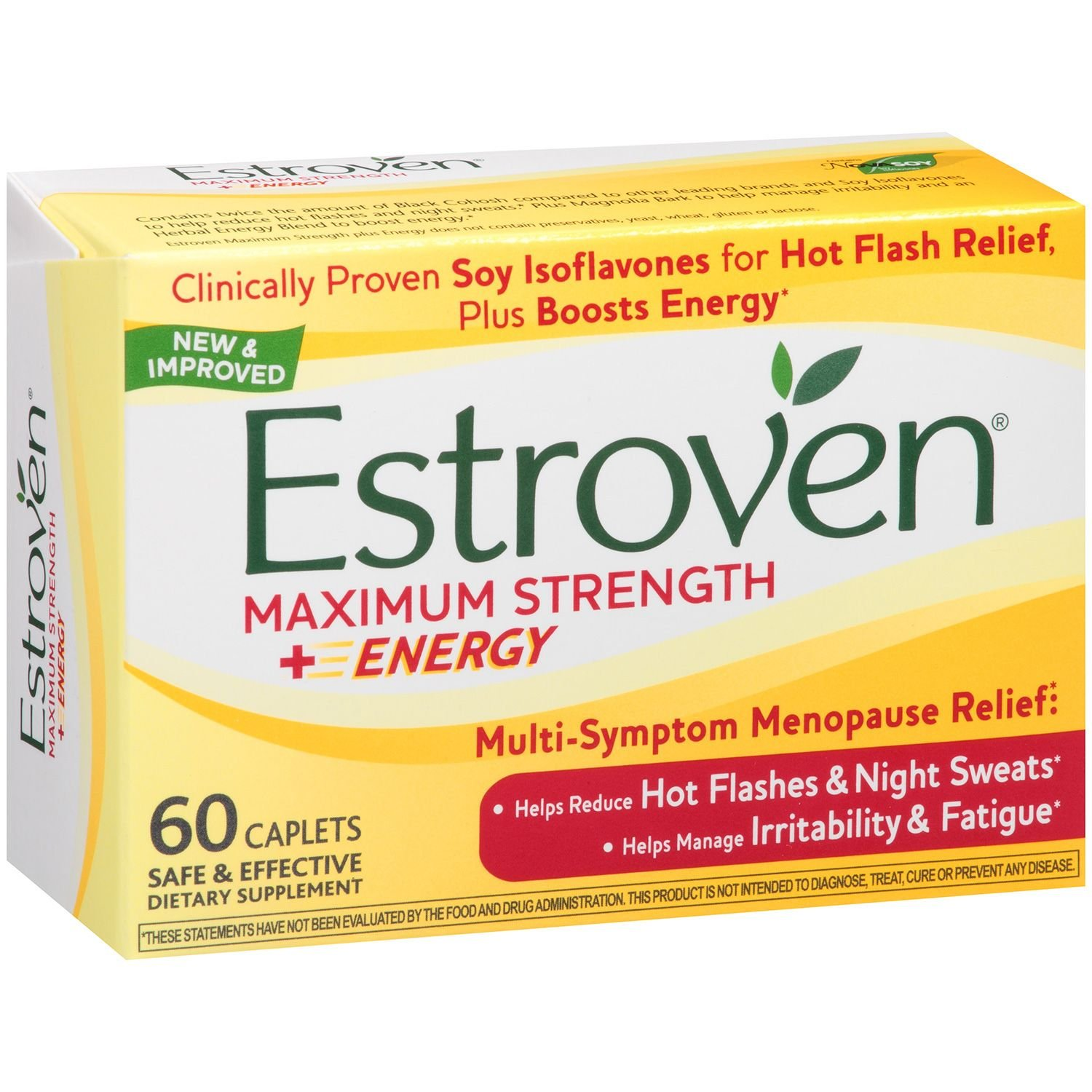 Estroven Maximum Strength + Energy Dietary Supplement Caplets (60 ct.) (pack of 6)