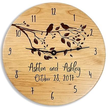 Amazon.com: Wedding Wood Wall Clock Wedding Gift for Couples Wall ...