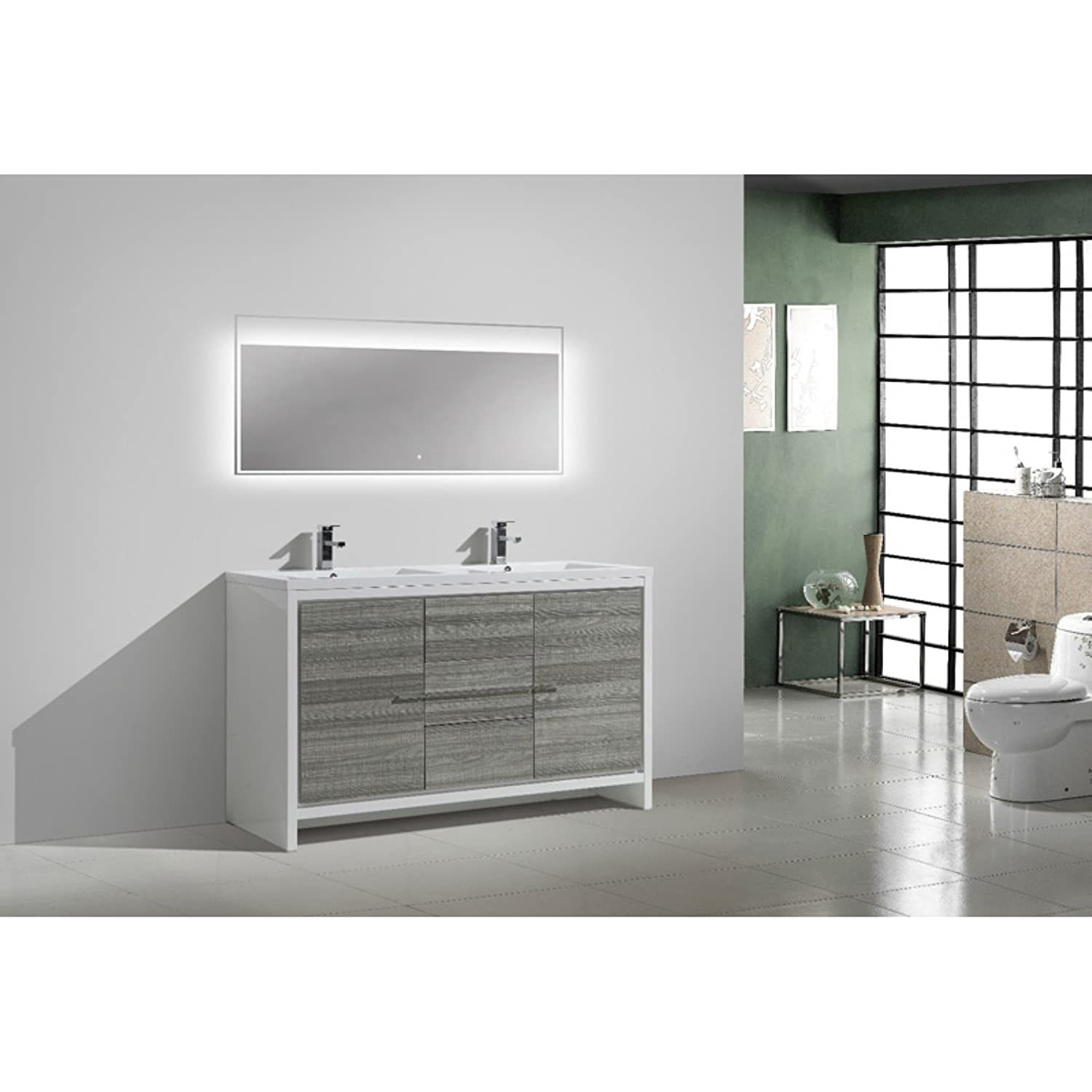 free standing double sink bathroom vanity with 2 doors and 3 drawers home kitchen - Bathroom Cabinets Kzn