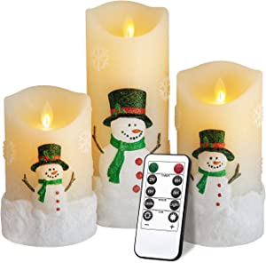 "Snowman LED Flameless Candles Battery Operated Pillar Candle Moving Effect Flickering Candles with Remote Timer for Christmas Decoration,5"" 6"" 8"" Pack of 3"