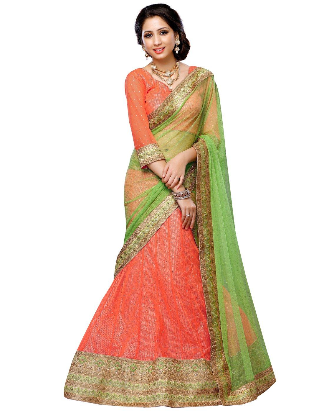 DesiButik's Wedding Wear Pleasant Orange Soft Net Lehenga