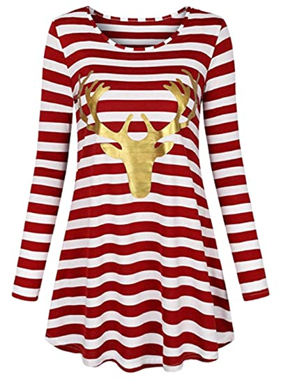 34737b1aff4 MollyNory Tunic Tops for Leggings for Women,Classy Relax Fit Dress,Red  White S