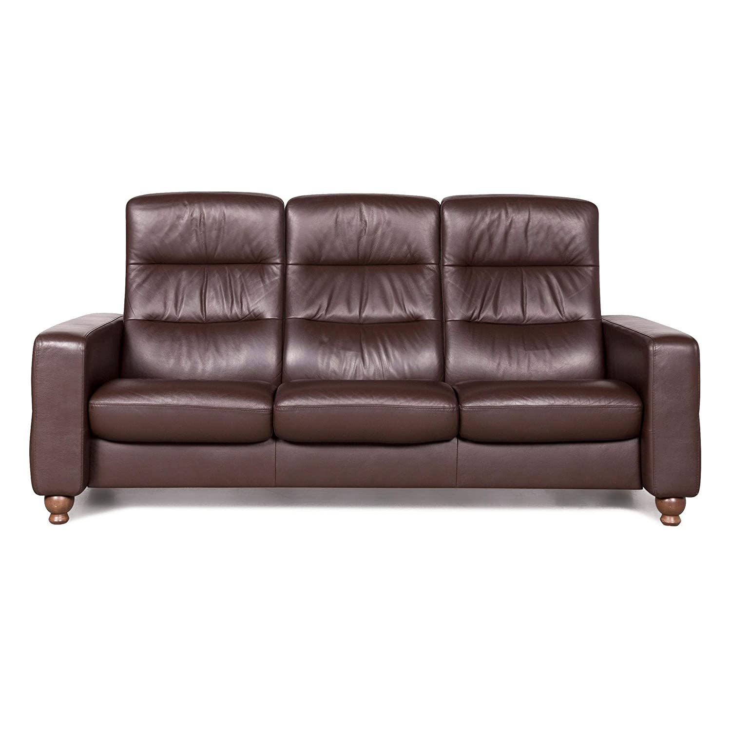 Stressless Designer Leather Sofa Brown Genuine Leather Three ...