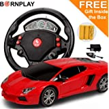 BornPlay® Steering R/C Remote Control Rechargable Electric Car Toys Games Birthday Gifts for Boys Kids Children Outdoor Indoor Playing Games - Assorted Color & Design as per Stock - (Get a Free Gift)