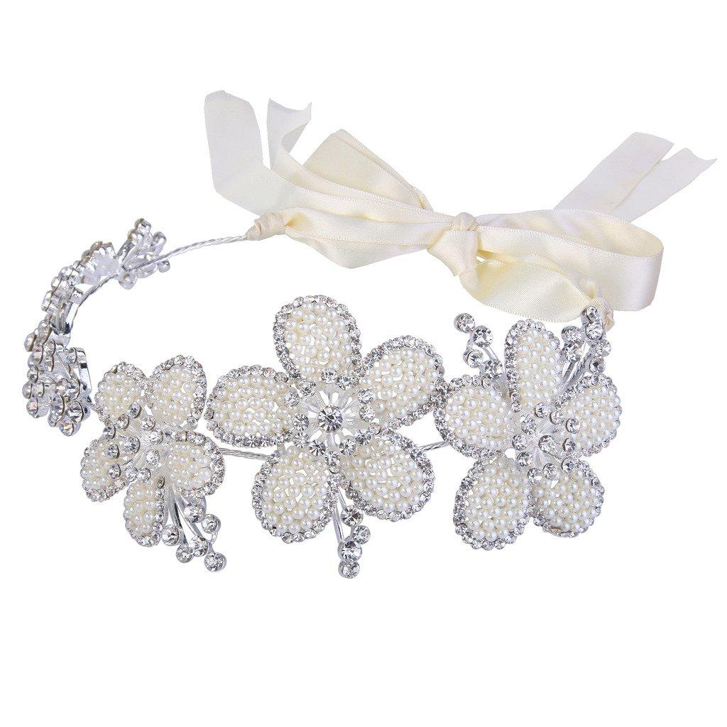 Clearine Femme Bohême Ivorine Collar Perle Artificielle Autrichien Cristaux Réglable Aurore Boréale Bandeau Cheveux Accessoire 12000447