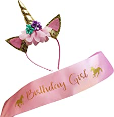 Marvs Store Unicorn Birthday Girl Set of Gold Glitter Unicorn Headband & Pink Satin Sash for Girls with Ebook Included, Happy Birthday Unicorn Party Supplies, Favors & Decorations - 2018 New