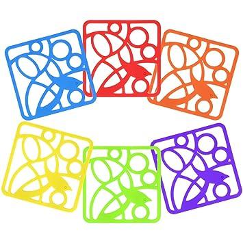 COM-FOUR® 6x trivet de silicona,