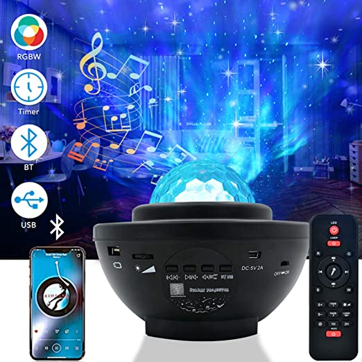 Galaxy Projector Light for Bedroom,RUISHINE Delicacy Sky Ocean Wave Starry Projector with Remote Voice Control & Auto-Off Timer Bluetooth Music Speaker,Rotating LED Nebula Cloud Light for Party Family