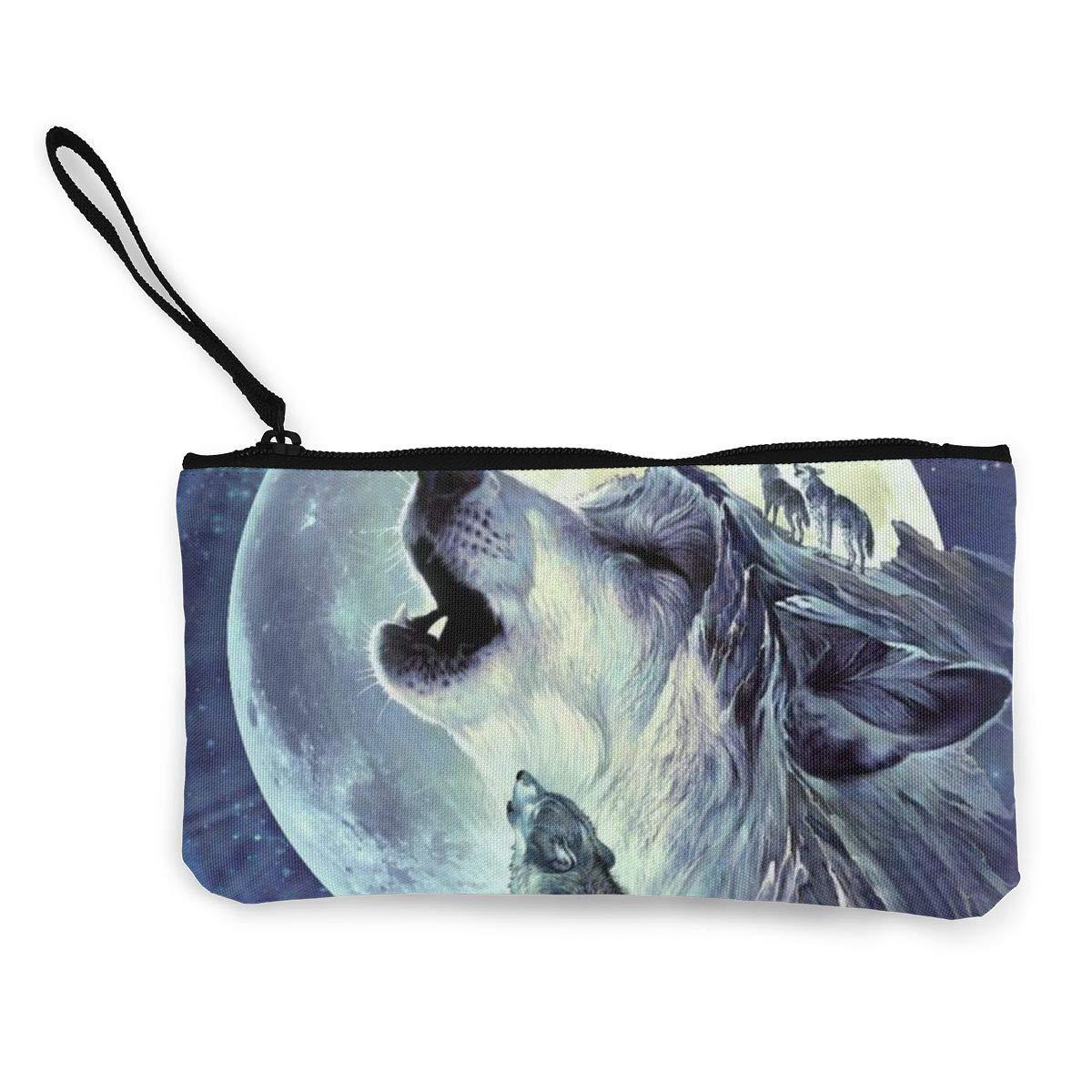 Canvas Cash Coin Purse,Wolf Spirit And Moon/ Print Make Up Bag Zipper Small Purse Wallets