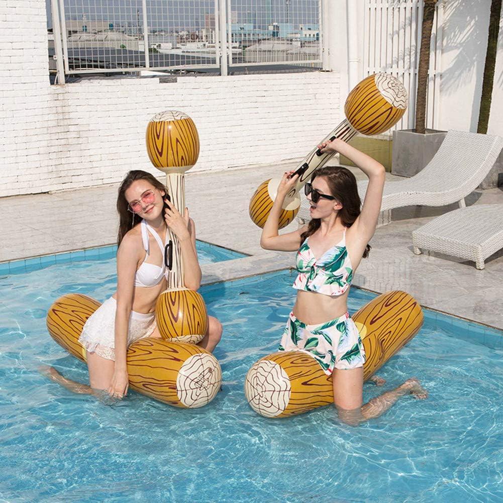 Flotador de Piscina Inflable para Adultos Deportes acuáticos Juguetes de Parachoques Piscina Balsa Canoa Juego de Grano de Madera Palo