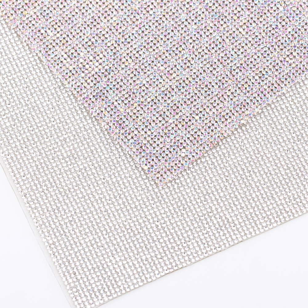 240X400mm Crystal Rhinestone Trim Hotfix Strass Crystal Mesh Banding Bridal Beaded Applique in Sheet for Dresses with 2mm Rhinestones 2pcs Crystal+Champagne