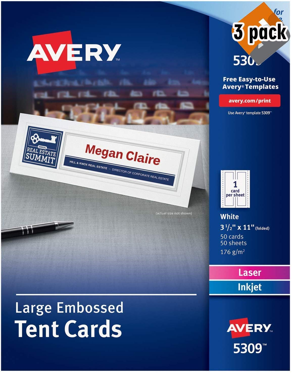 Avery Printable Large Tent Cards, Laser & Inkjet Printers, 3 Pack (50 Cards, 3.5 x 11, White) by AVERY