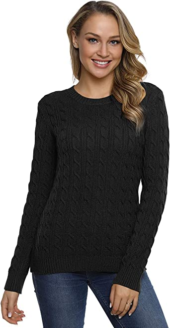 Womens Ladies Long Sleeve Stretch Knitted Jumper 4 Button Round Cable Neck Top