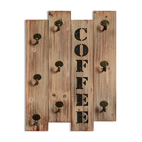 Xing Cheng Rustic Vintage Kitchen Wall Storage Brown Wood Wall Mounted Coffee Mug Hanger Rack and Tea Cup Holder Storage Organizer with 9 Hooks