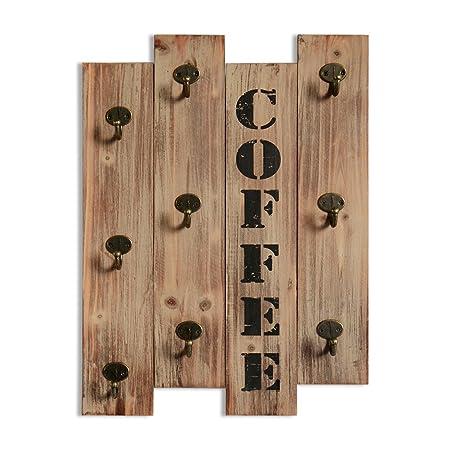 Perchero de pared para tazas de café o té, de madera marrón ...