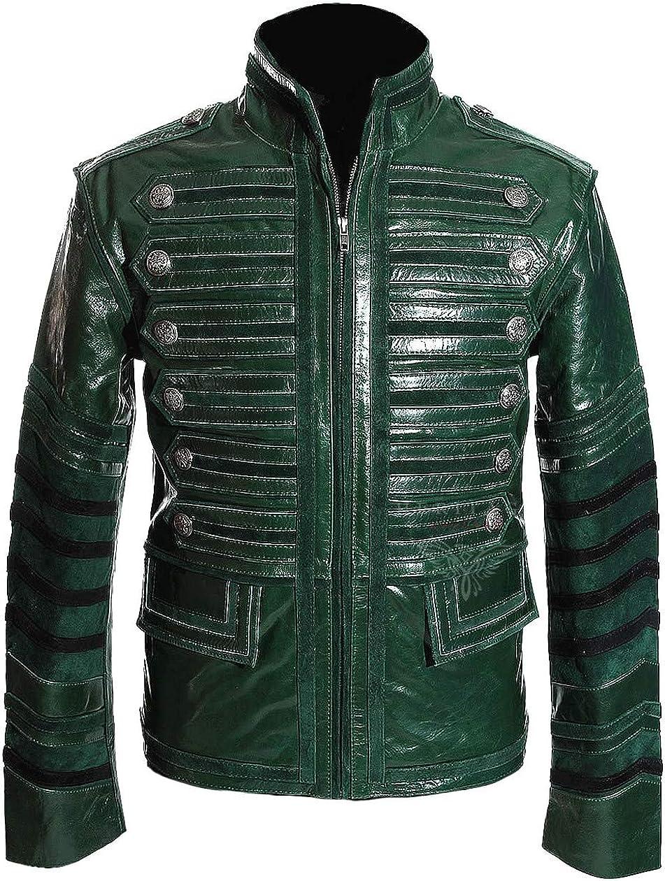 Heritage Green - Chaqueta de piel de vacuno para hombre, estilo militar, estilo steampunk, estilo gótico, estilo vintage, estilo militar, para desfile (tallas XS a 5XL disponibles)