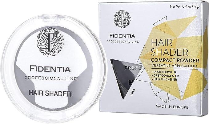 Fidentia Maquillaje Capilar   Corrector de Pelo   Retoca las raíces, canas y la pérdida de cabello al instante   12g Negro
