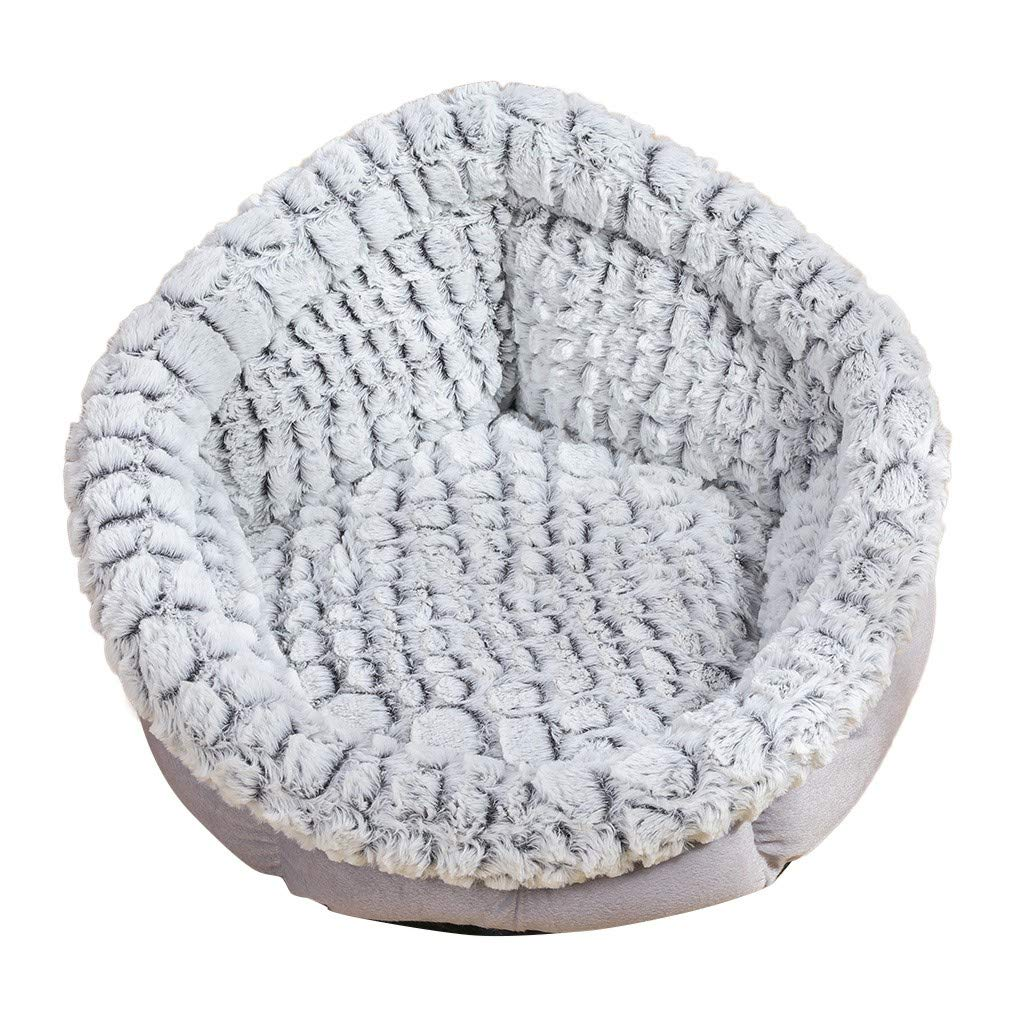 Donut Cat and Dog Bed | Faux Fur Self-Warming Premium Cozy Pets Sleeping Bad for Small Puppies Kitty | Indoor Fluffy Luxurious Round Cushion Pillow Sofa (Gray, M) by Leadmall