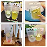100pcs Clear Drink Pouches Bags Heavy Duty