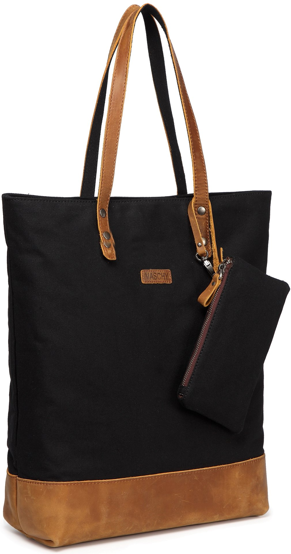 Leather Canvas Tote,Vaschy Vintage Soft Cotton Canvas Large Shopper Work Tote for Women