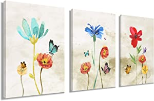Poppy Flower Wall Art for Girls Bedroom Wall Decor - Colorful Daisy Canvas Prints for Living Room Bathroom Studio Modern Artwork Paintings Pictures for Home Decoration Ready to Hang (12 x 16 inch x 3 Panel)