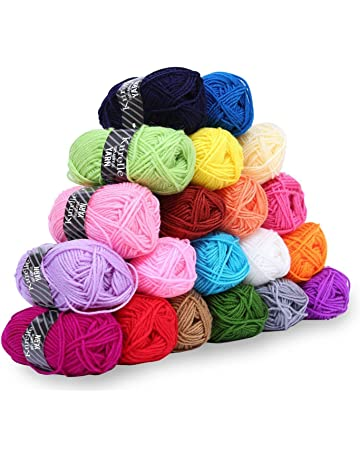 Kurelle Pack de 20 Madejas Hilo de tejer/Acrílico lana - Perfecto para Crochet y