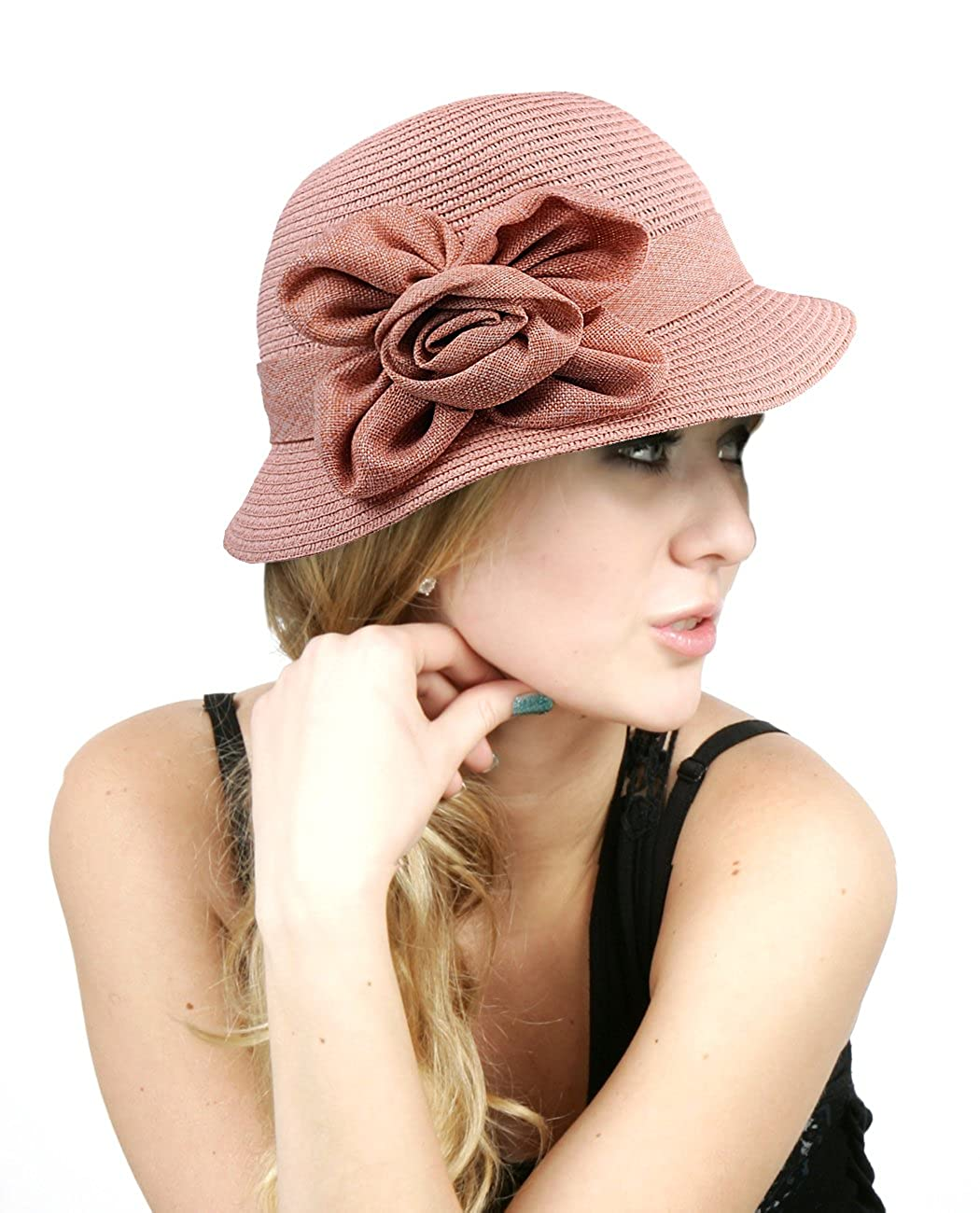NYFASHION101 Women's Paper Woven Cloche Hat with Flower Band