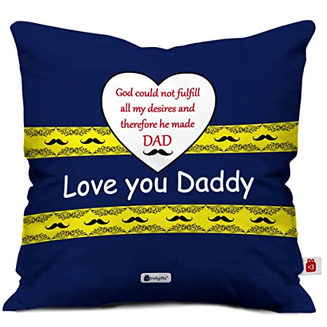 Indigifts Papa Gift Anniversary Love You Daddy Trending Cushion Cover 12x12 Inches With Filler Multi Color