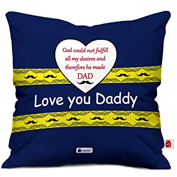 Indigifts Papa Gift Anniversary Love You Daddy Trending Cushion Cover 16x16 Inches Multi Color Dad