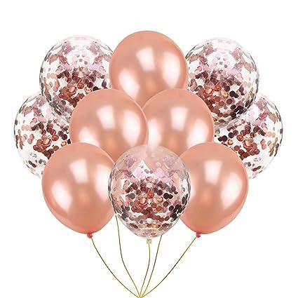 Amazon.com: Globos de confeti de color oro rosa para fiestas ...