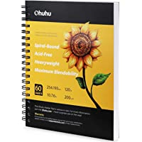 """Ohuhu Marker Pads Art Sketchbook, 7.6"""" x 10"""" Large Paper Size, 120LB/200GSM Heavy Smooth Drawing Papers, 60 Sheets/120…"""