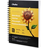 """Ohuhu Marker Pads Art Sketchbook, 7.6"""" ×10"""" Large Paper Size, 120LB/200GSM Heavy Smooth Drawing Papers, 60 Sheets/120 Pages,"""
