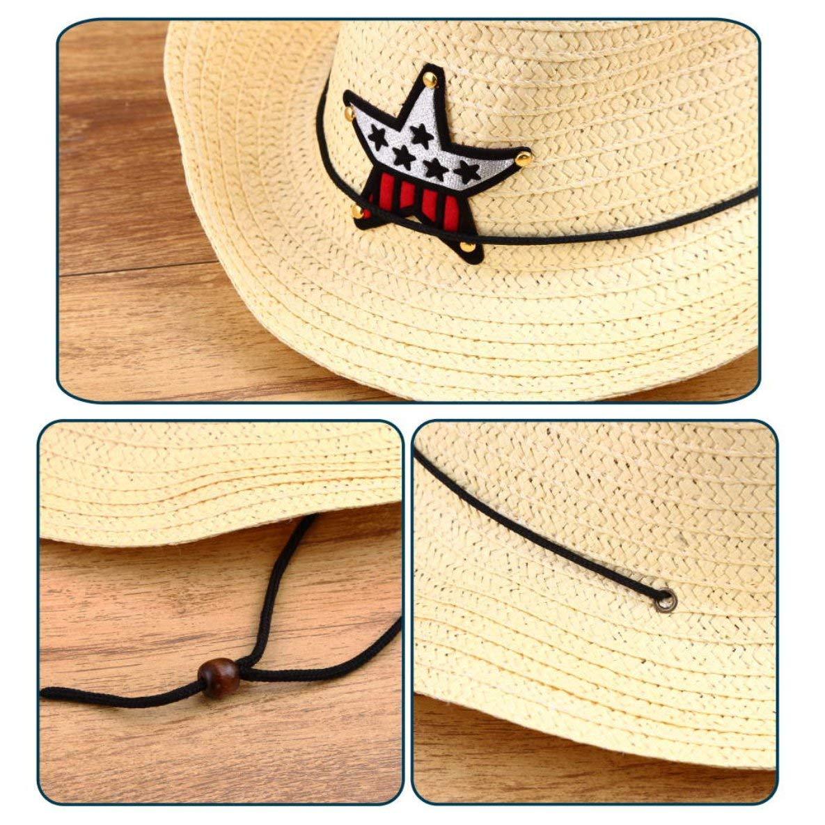 Noradtjcca Kinder Kinder Western Cowboy Stroh Sonnenhut Winddichte Kappe Sommer Big Wide Brim Sunbonnet mit Sterndekoration