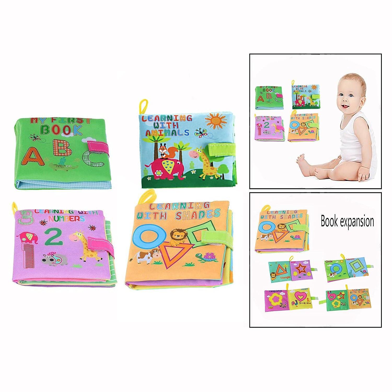 OFKPO 4 Pezzi Libro Panno Morbido Lavabile Libro Insieme del Bambino Apprendimento Sviluppo Intelligenza