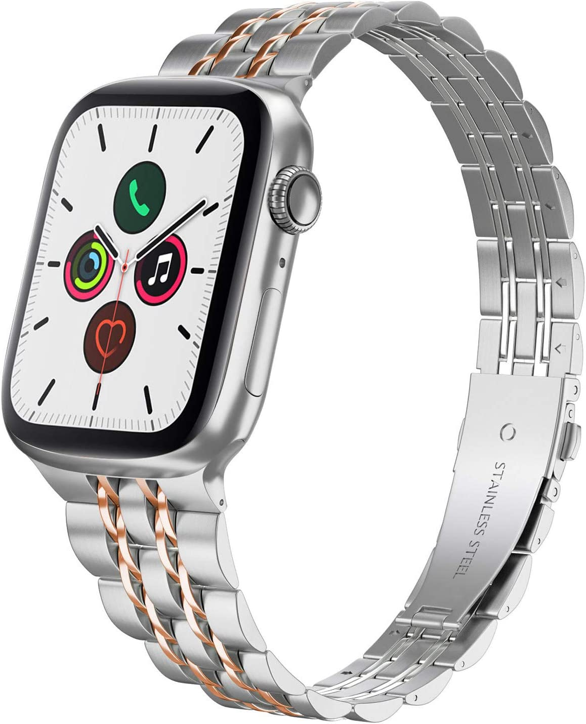 Compatible with Apple Watch Band 40mm Series 6 5 4 38mm Series 3 2 1, Yisdo Iwatch Bracelet Link Band Iphone Watch Band Ultra Thin Stainless Steel Metal Women (38mm/40mm, Silver with Rose Gold)