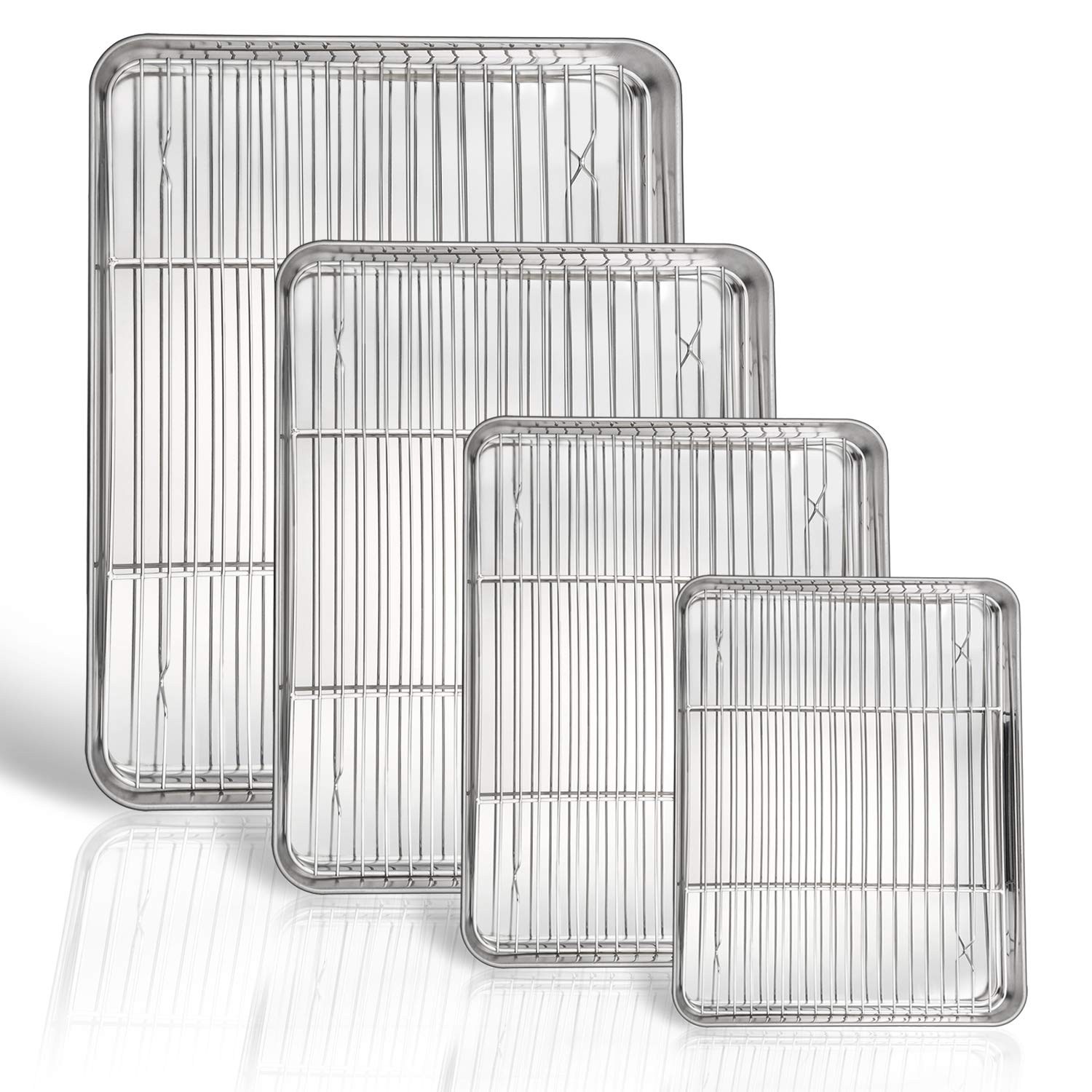 P&P CHEF Baking Sheet and Rack Set, 8 PACK (4 Sheets + 4 Racks), Stainless Steel Baking Pans Cookie Sheets with Cooling Rack, Healthy & Mirror Finish,Oven & Dishwasher Safe