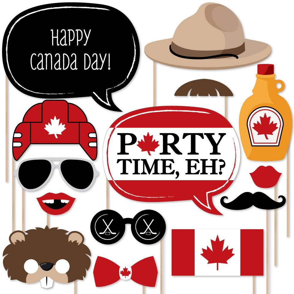Big Dot of Happiness Canada Day - Photo Booth Props Kit - 20 Count by Big Dot of Happiness