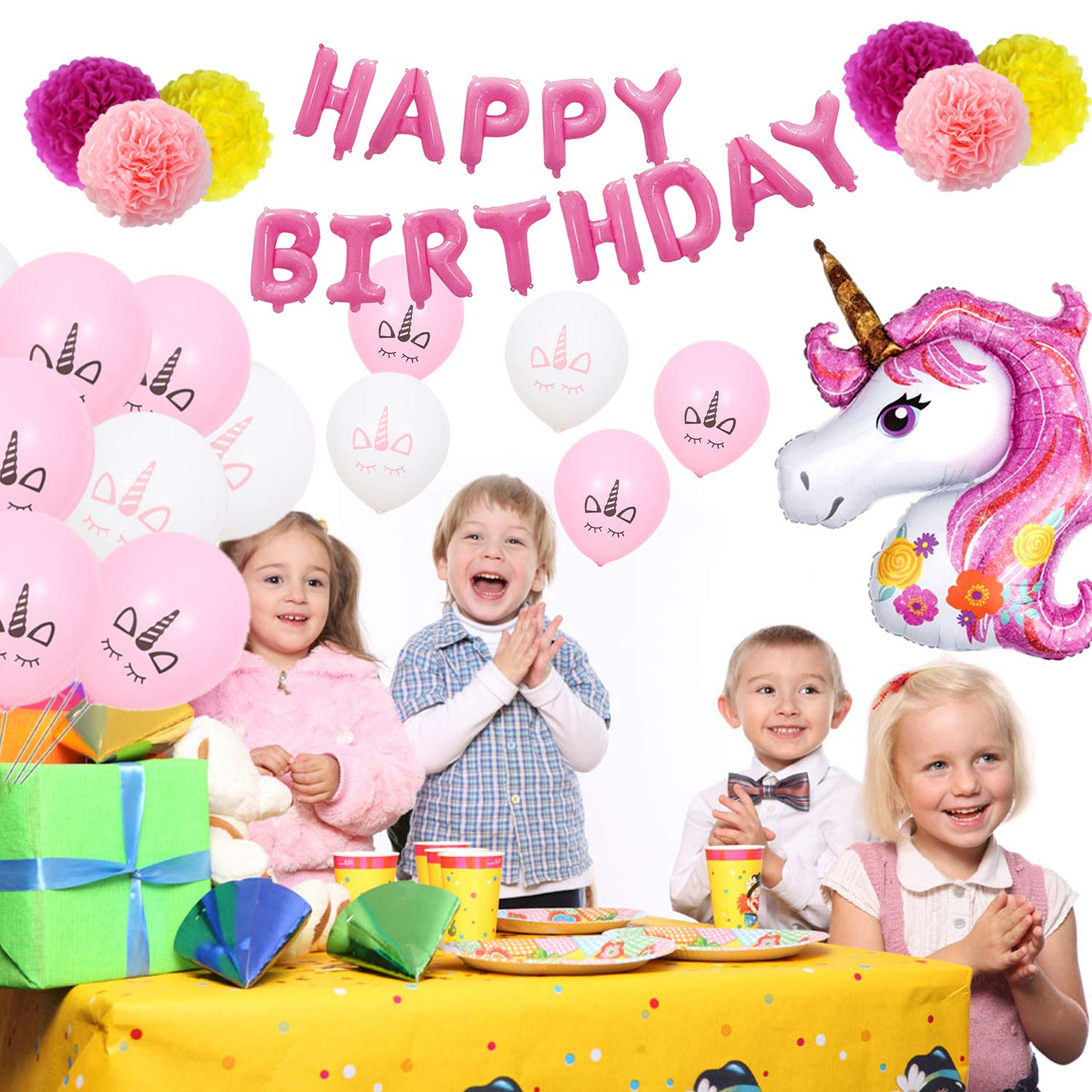 VSTON Unicorn Party Decoration, Big Unicorns Pink Foil Happy Birthday Banner 10in Latex Balloons Paper Pom Poms for Kids(29PCS)