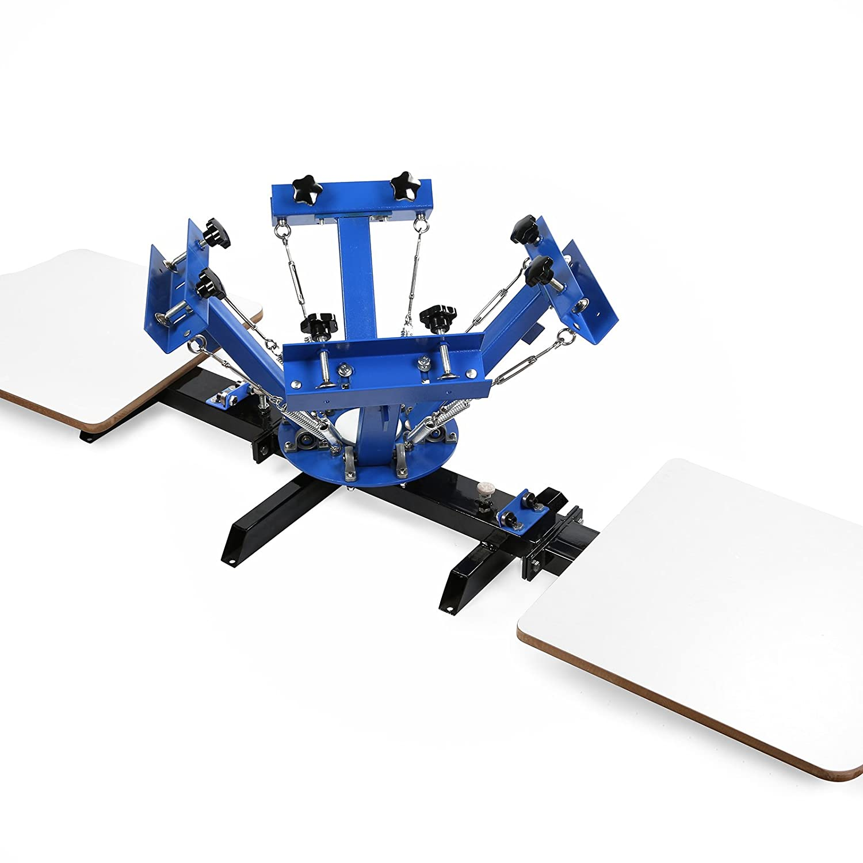 4 Color 2 Station VEVOR Screen Printing Machine 17.7x21.7Inch Screen Printing Press 4 Color 2 Station Silk Screen Printing for T-Shirt DIY Printing Removable Pallet